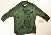 women's Allyson Whitmore size small light jacket green open front cotton mix