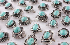 Wholesale Lots MIxed 8Pcs Big Natural Turquoise Tibet Silver P Women Rings FREE
