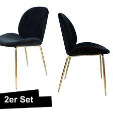 Samt Stuhl Schwarz Gold 2er Set Esszimmerstuhl