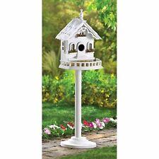 Freestanding Victorian Birdhouse pole base bird house white wood decor new