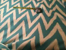 "FABRICUT Shelton Chevron"" Teal Flamestitch 100% Linen Fabric 0095302 $113 Retail"