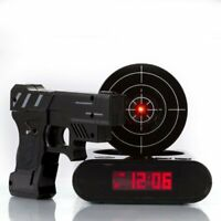 Home Laser Gun Target LCD Digital Alarm Clock Shooting Game Display Snooze Toy