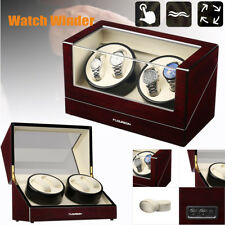 Watch Winder Display Box Storage 4 Watches Luxury Wood Case Automatic Rotating