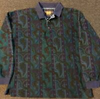 Vtg 90s Polo Ralph Lauren Chaps Paisley Aztec Rugby Shirt L Sport Western USA