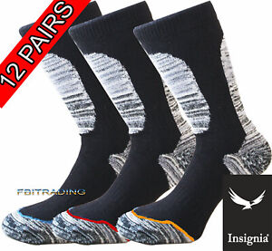 12 Mens Pairs Socks Ultimate Work Boot Reinforced Toe Cushion Sole Size 6-11-14