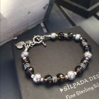 Silpada B1477 Heart Charm Smoky Quartz Bracelet .925 Sterling Silver Brown
