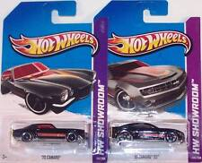 Hot Wheels 1:64 2010 And 1970 Chevy Camaro Black and Red Matching Liveries