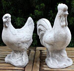 Dekofiguren Henne Hahn Höhe 29/35 cm als Satz 2-teilig Gartenfiguren aus Beton