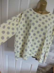POSTCARD FROM BRIGHTON ● size 1 10 12 ● yellow grey polka dot sweatshirt top