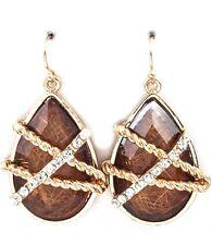 Jewel Tone Cabachon Crystal Stud Teardrop Earrings  Amber Brown Goldtone