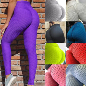 Womens Yoga Pants Push Up Leggings Anti Cellulite Ruched Sports Scrunch Trousers