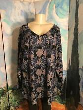 Woman Within Plus 3x New Blue Floral V-Neck Ribbed Trim Long Sleeve Tunic Top