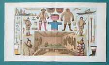 COSTUME of Eskimos Fishing Tools Sled Abode - COLOR Litho Print A. Racinet