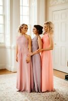 Bridesmaid Dresses Chiffon Halterneck Party Prom Ballgown Maxi Evening Uk