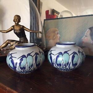 🦋paire vase art deco En Ceramique Craquelé DLG (catteau Chevalier) La Louvière