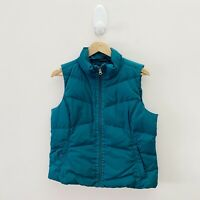 Lands' End Women's Green Teal Down Feather Vest Gilet {Size M 10-12}