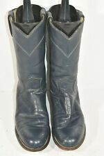 VINTAGE JUSTIN L3057 WOMENS 6 B BLUE LEATHER ROUND TOE WESTERN COWBOY BOOTS