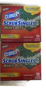 2 Boxes Clorox Scrub Singles Heavy Duty Scouring Pads, Real Cleaning - 10 Count