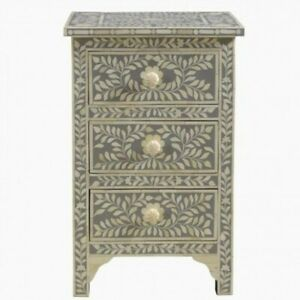 MADE TO ORDER Bone Inlay Indian Handicraft Bedside Cabinet Table Grey Floral