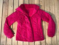 Prana Women's long sleeve Zip/snap up Puffer Jacket winter coat size S pink F8