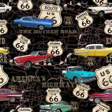 Blank Quilting AMERICAN DREAM ROUTE 66 Classic American Car Fabric - Black