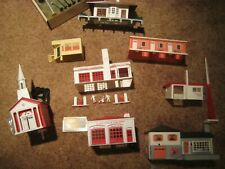 Huge Lot Plasticville O scale Buildings with other misc pieces and Wyndotte cars