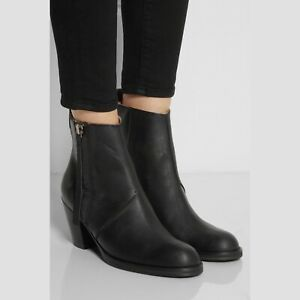 Acne Studios Black Leather Pistol Zip Ankle Booties Boots Heeled 40 Womens Shoes