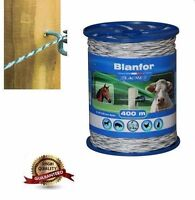 400m WHITE ROPE with Galvanized Steel conductors:2x0.5 mm -ELECTRIC FENCE UK