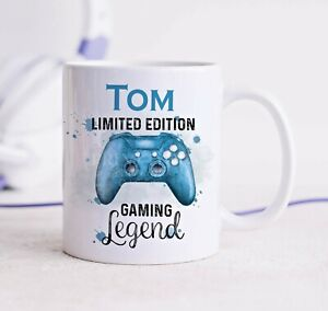 Personalised Gift Mug Blue Gamer Remote Control Limited Edition Gaming Legend D1