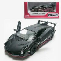 Kinsmart 1:36 Die-cast Lamborghini Veneno Matte Car Black Model w Box Collection