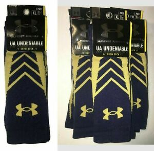 TEAM ISSUED NOTRE DAME Under Armour Undeniable Crew Socks IRISH Men XL BLUE GOLD