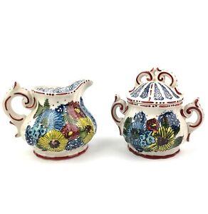Anthropologie Garden Swirl Creamer Pitcher and Sugar Bowl with Lid Set Ceramic