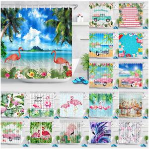 "Pink Flamingo Summer Tropical Paradise Waterproof Fabric Shower Curtain Set 72"""