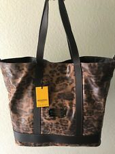 NEW Valentino by Mario Valentino 2 in 1 Cheetah Printed Leather Tote Handbag