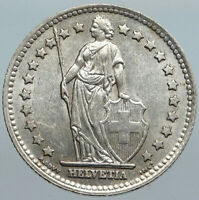 1945 SWITZERLAND HELVETIA Symbolizes OLD SWISS Nation SILVER 1 Franc Coin i88087