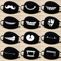 Cartoon Face Mask Cover Unisex Funny Teeth Mouth Black Cotton Printed Washable
