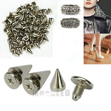 100x Silver Spots Cone Screw Metal Studs Leathercraft Rivet Bullet Spikes 10mm