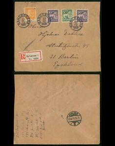 Sweden Karlskrona 1929 Registered Cover to Berlin Germany