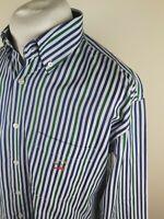 Mens Paul Shark Shirt Blue Stripe Large 46 Chest Mod Ska Casuals