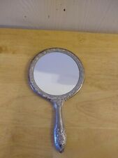 """Vintage Hand Mirror Beautiful Heavy Antique Silver Plated 9"""" 3/8"""