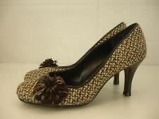 womens 6.5 sz 37 kg by kurt geiger brown tweed shoes pump high heel flower dress