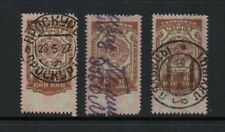 Russia, three 6 kopek revenue stamps, two with handstamped cancels.