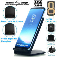 Qi Wireless Fast Charger Stand Dock Charging Pad For Samsung iPhone 11/11 Pro