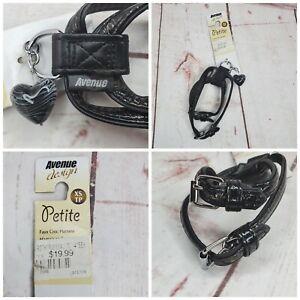 Avenue Design Petite XS Black Faux Leather Croc Harness Black Heart Bell Pendent