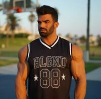 UK L. Belegend/BLGND-gorilla/golds style vest. fitness. Grey/Black with logo New