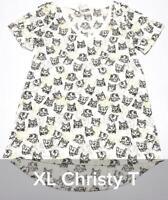 NWT Lularoe Size XL Cream w Cat Heads All Over Women's Christy T-Shirt Top