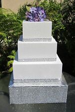 "10"" to 18"" Square Wedding Cake Stand, Riser Rhinestone Mesh, 4"" tall Styrofoam"