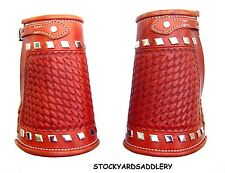 LEATHER.GOLDEN FINISH COWBOY CUFFS HAND BASKET STAMP STUDS NEW APPAREL WESTERN