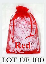 100 LARGE Organza Bag RED Pouch Reception Jewellery Party Favor Shop 11x16 cm