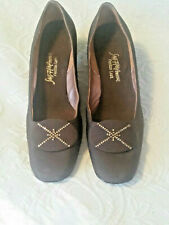 """Vintage Shoes SAKS 5TH AVE Brown Fabric Pumps 2"""" Heel Sz 7A"""